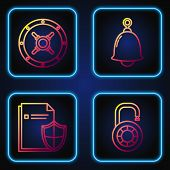 Set Line Safe Combination Lock Wheel , Document Protection Concept , Safe And Ringing Bell . Gradien poster