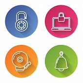 Set Line Safe Combination Lock Wheel , Laptop And Lock , Ringing Alarm Bell And Ringing Bell . Color poster