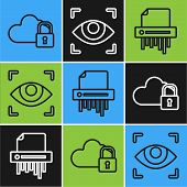Set Line Cloud Computing Lock , Paper Shredder Confidential And Eye Scan Icon. Vector poster