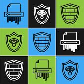 Set Line Paper Shredder Confidential, Shield With Cyber Security Brick Wall And Shield With Wifi Wir poster