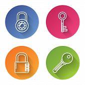 Set Line Safe Combination Lock Wheel , Key , Safe Combination Lock And Key . Color Circle Button. Ve poster