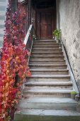 Stein Am Rhein, Switzerland - October 2019: A Stairways Led To To An Old Building Inside St. George poster