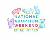National Cat Adoption Weekend. Every Day Is Caturday. Charity And Rescuing Event. Helping Animals Co poster