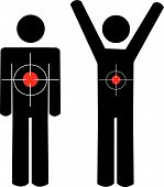 Stick Men Arms At Sides And Arms Up With Targets.