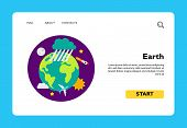 Icon Of Earth In Space. World, Planet, Ecosystem. Cosmos Concept. Can Be Used For Topics Like Geogra poster
