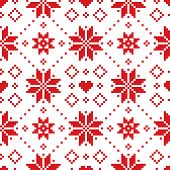 Christmas Or Winter Scottish Fair Isle Style Traditional Knitwear Vector Seamless Pattern With Red S poster