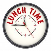 Lunch Time. Clock With Text. The Round Clock With Red Text Lunch Time. Isolated. 3d Illustration poster
