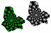Maradi Region (regions Of Niger, Republic Of The Niger) Map Is Designed Cannabis Leaf Green And Blac poster