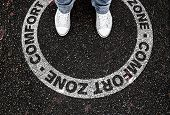 Legs Of Person Standing In Circular Marking On Road With Text Comfort Zone, Being In Or Leaving Own  poster