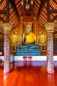 Statue Of Buddha In Small Temple Near Wat Chedi Luang Temple, Thailand. Spiritual Place With Beautif poster
