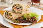 Turkey Wraps On A Bed Of Lettuce