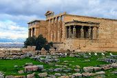 Scenic View Of Ancient Ruins Of The Erechtheion Or Erechtheum. It Is An Ancient Greek Temple On The  poster