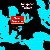 Volcano Taal On Map Philippines Islands. Silhouette Chart. Eruption. Disaster On The Islands Of The  poster
