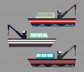 Version Of Icons Fishing Ships With Hook. Ship At Sea Transport, Shipping Boat. Flat Vector Illustra poster