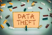 Word Writing Text Data Theft. Business Concept For Illegal Transfer Of Any Information That Is Confi poster