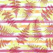 Jungle New Zealand Fern Frond And Bracken Grass Overlapping Stripes Vector Seamless Pattern. Polynes poster