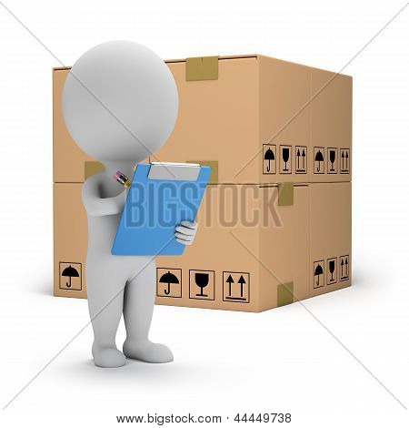 Постер, плакат: 3D маленькие люди складские услуги, холст на подрамнике