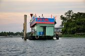 Can Tho, Vietnam - February 17, 2013: Floating gasoline station in the Mekong delta