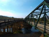 Reinforced Concrete And Iron Bridges Over The Pai River In Mae Hong Son, Thailand