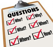 A survey with reserach questions Who, What, Where, When, Why, How and check boxes and marks to symbo