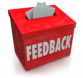 A red Feedback box for collecting employee or customer ideas, thoughts, comments, reviews, ratings,