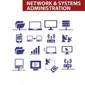 network & systems administration, organization icons set, vector
