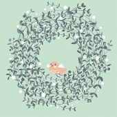 Stylish floral design element. Floral card with cute bird in vector. Ideal for wedding invitation