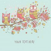 Cute owls on branch in flowers. Spring concept background.  Bright illustration, can be used as invi