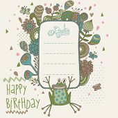 Happy birthday card in vector with cute frog and flowers. Cartoon childish illustration with textbox