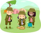 Illustration of Little Girlscouts Tree-Planting near the Campsite