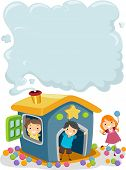Illustration of Kids in a Playhouse with Smoke coming out from the Chimney