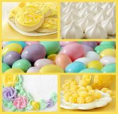Collage of sweet treats in pastel colors includes lemon sugar cookies, meringue cookies, frosted cake, lemon drops, and jelly beans.