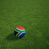 3D Darstellung einer südafrikanischen Soccerball lying on grass