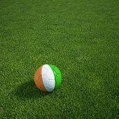 3D-Rendering ein ivorischer Soccerball lying on grass