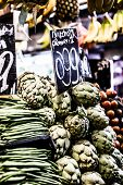 Fresh Green Cherimoyas In Central Market, Barcelona, Spain.