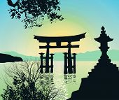 Evening Landscape In Japan With Tori-gate