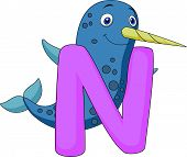 Alphabet N with Narwhal cartoon