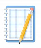 Blank Checkered Notebook And Pencil. Vector Illustration