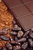 stock photo of cocoa beans  - Bar of chocolate cocoa beans and powder - JPG