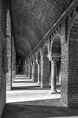 Ripoll Monastery Columns Inside, Black And White
