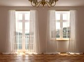 stock photo of windows doors  - Empty room with a wonderful view from the windows and balcony door which are decorated with white curtains - JPG