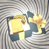 Vintage Christmas Gift Box With Smart Phone Icon