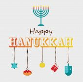stock photo of hanukkah  - Happy Hanukkah greeting card design with hanukah objects - JPG