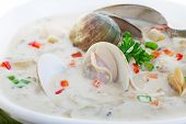 New England Clam Chowder close up.