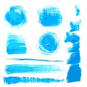 Vector beautiful handmade blue strokes painted by brush