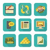 Modern Flat Financial Icons Set