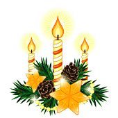 Christmas Composition With 3 Candles And Two Stars