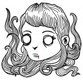 cartoon illustration of scary little vampire girl