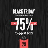 Black Friday 2013 vector Vintage design poster template. Retro style Typography. Creative lettering.