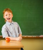 Little funny redhead schoolboy near blackboard with apple on a table